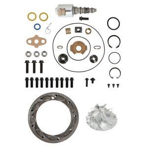 GT3782VA Turbo Rebuild Kit Billet Compressor Wheel Unison Ring 13.2mm Vanes VGT Solenoid For 05.5-10 6.0L Ford Powerstroke Diesel