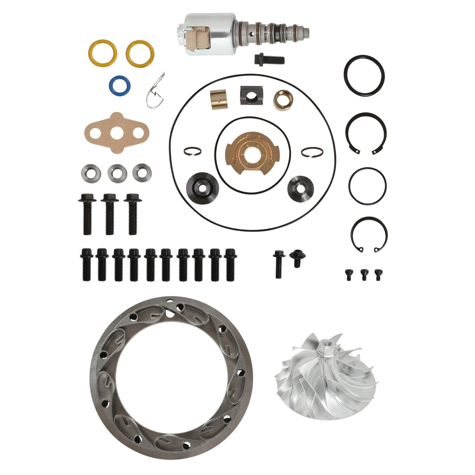 GT3782VA Turbo Rebuild Kit Billet Compressor Wheel Unison Ring 13.2mm Vanes VGT Solenoid For 05.5-10 6.0L Ford Powerstroke Diesel