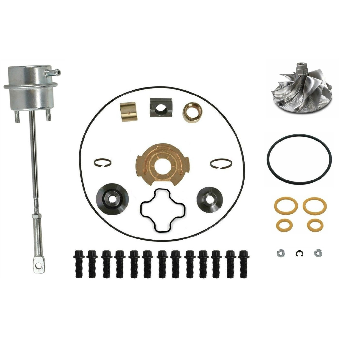 GTP38 Turbo Rebuild Kit Billet Compressor Wheel Wastegate Actuator For 99-03 7.3L Ford Powerstroke Diesel