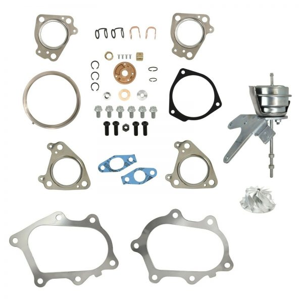 IHI RHG6 Turbo Rebuild Kit Billet Compressor Wheel Wastegate Actuator For 01-04 6.6L LB7 Chevy GMC Duramax Diesel